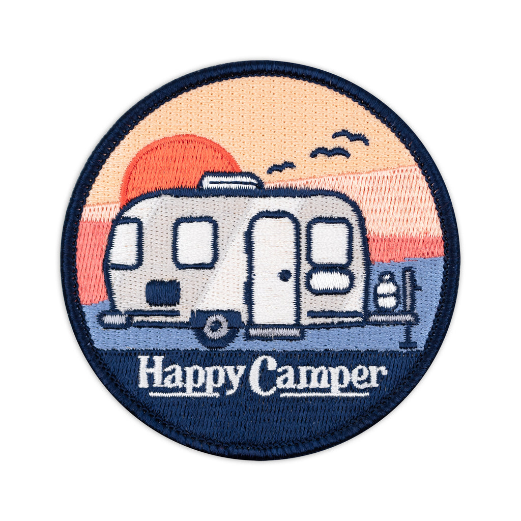 Happy Camper Travel Trailer Embroidered Iron-On Patch