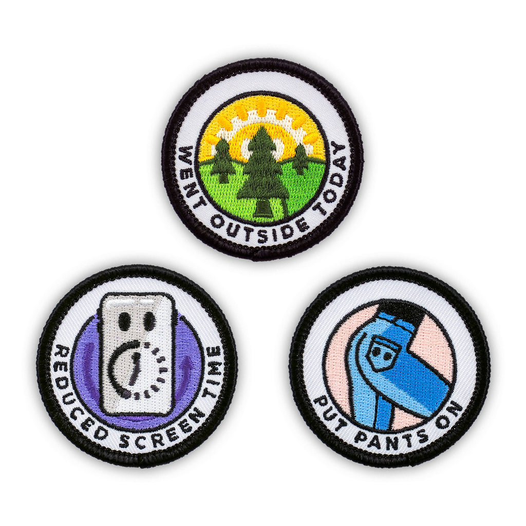 Adulting Merit Badge Embroidered Iron-On Patches (Health - Set 3)