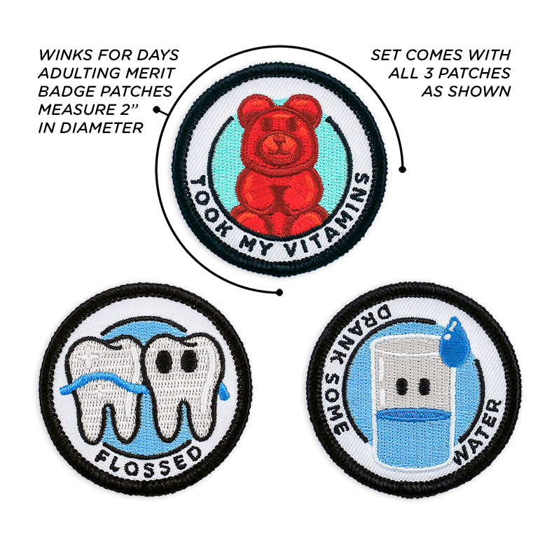 Adulting Merit Badge Embroidered Iron-On Patches (Health - Set 2)