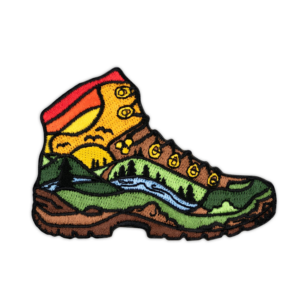 Hiked It Liked It Hiking Boot Embroidered Iron-On Patch