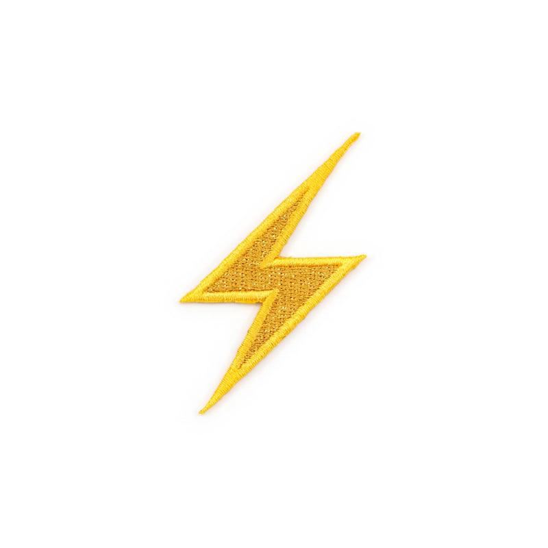 High Voltage Sign Metallic Lightning Bolt Emoji Embroidered Iron-On Patch