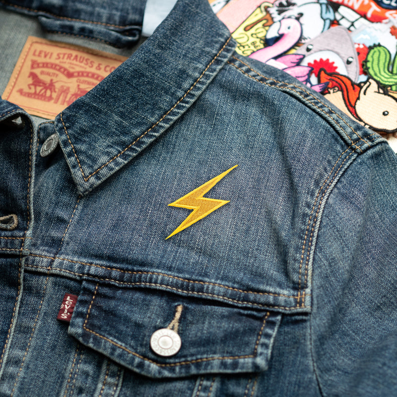 High Voltage Sign Metallic Lightning Bolt Emoji Embroidered Patch