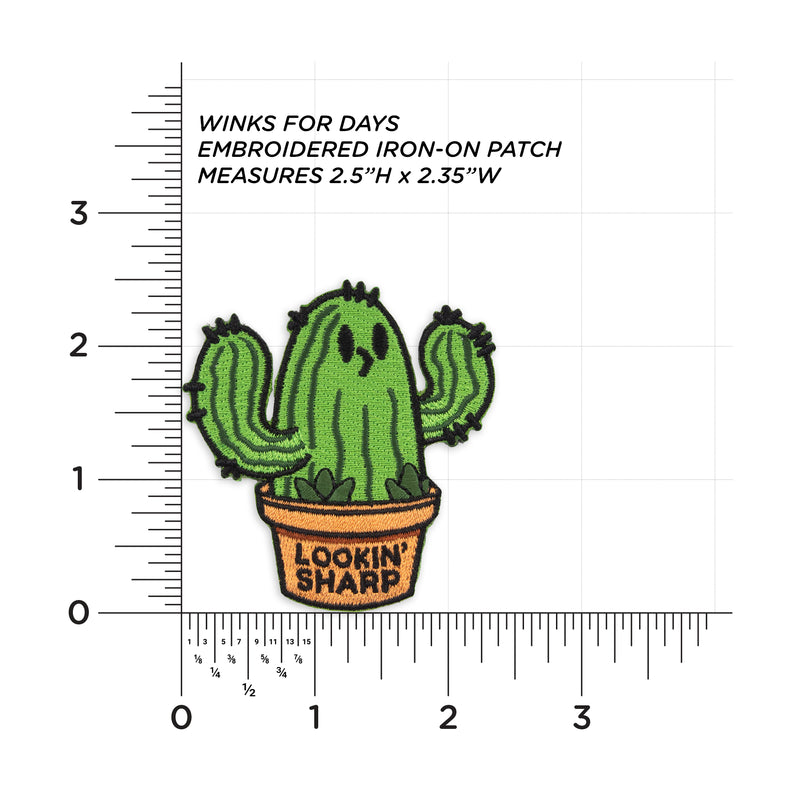 Lookin Sharp Cactus Embroidered Iron-On Patch