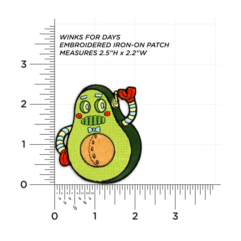 Mr. Avocado Robot Embroidered Iron-On Patch