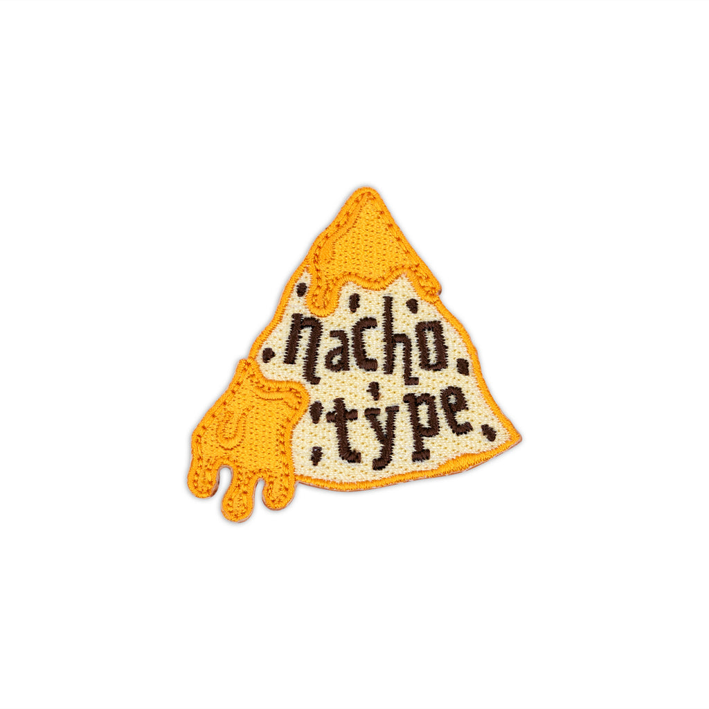 Nacho Type Tortilla Chip with Queso Cheese Dip Iron-On Patch