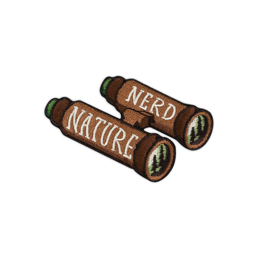 Nature Nerd Binoculars Embroidered Iron-On Patch