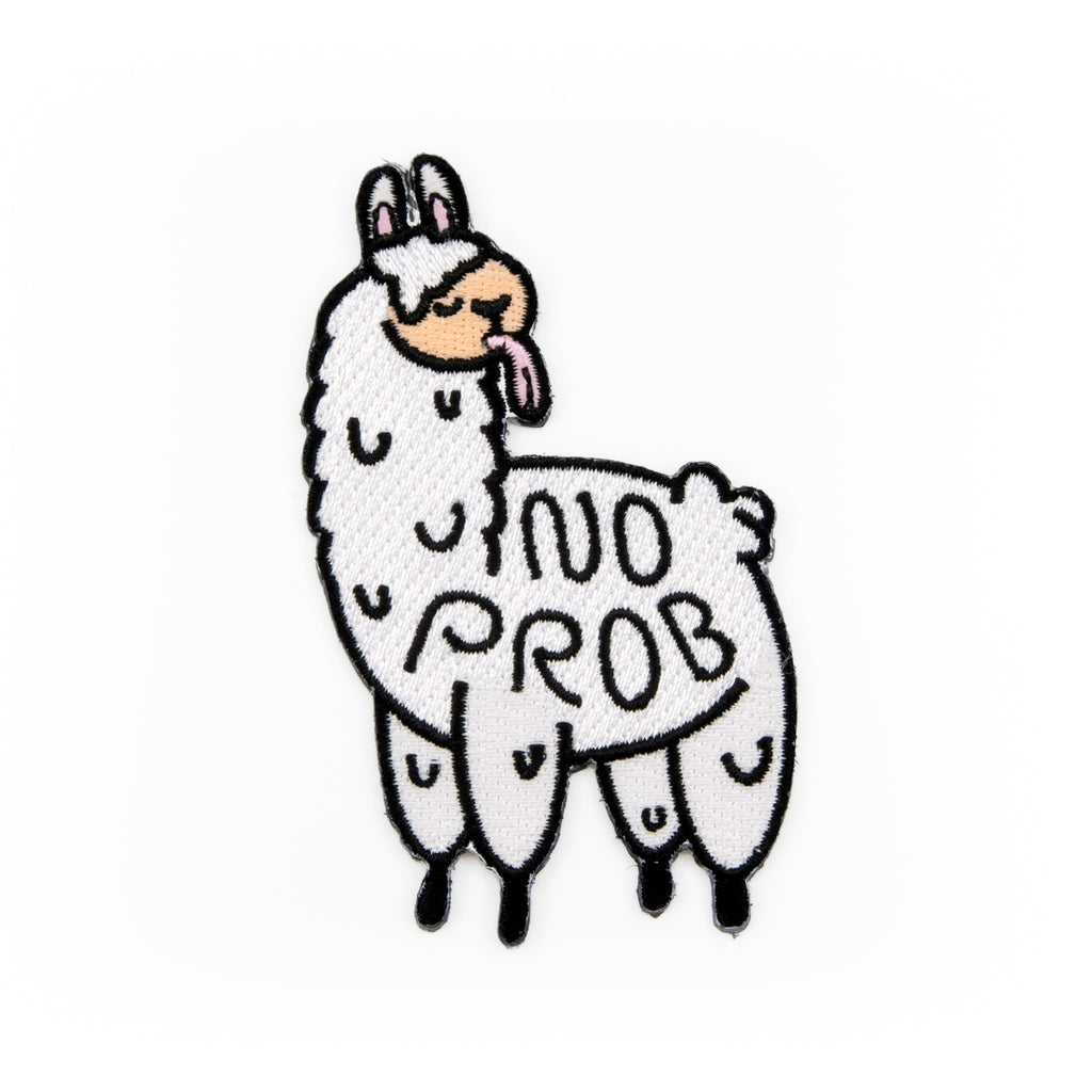 No Prob Llama Embroidered Iron-On Patch