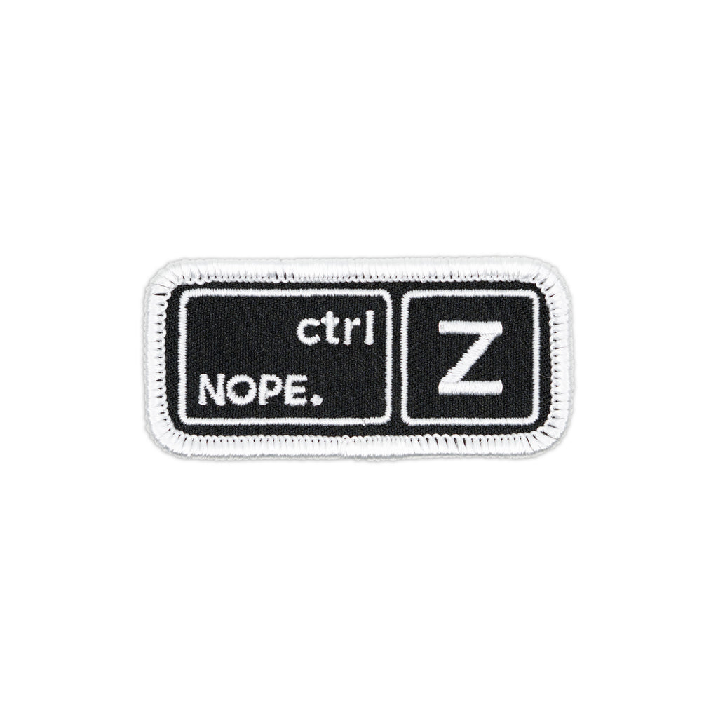 Keyboard Key Nope Undo Embroidered Iron-On Patch (ctrl+Z)