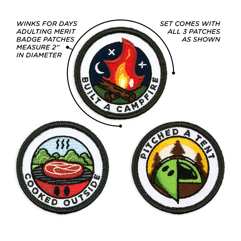 Adulting Merit Badge Embroidered Iron-On Patches (Outdoors - Set 1)
