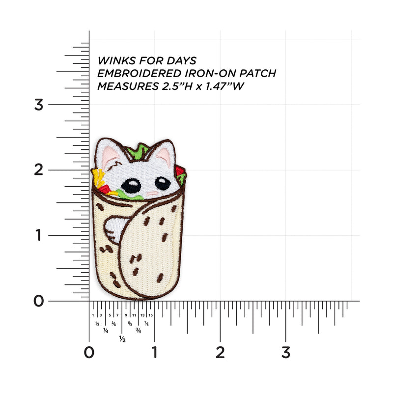 Purrito Burrito Cat Embroidered Iron-On Patch