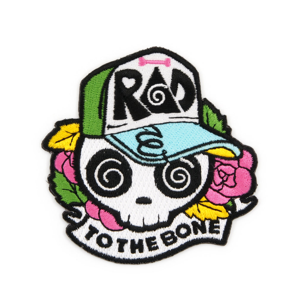Rad To The Bone Skull Embroidered Iron-On Patch