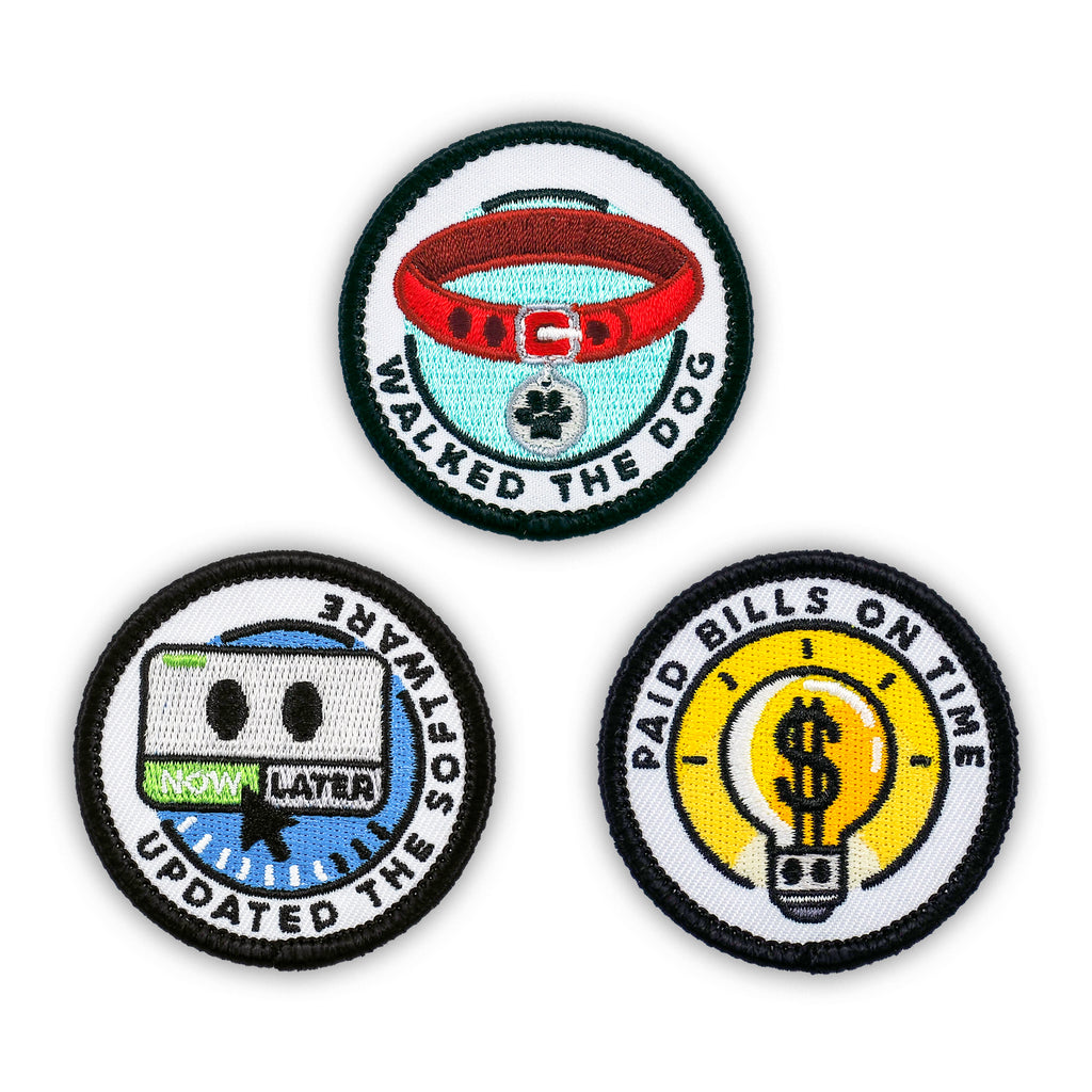 Adulting Merit Badge Embroidered Iron-On Patches (Responsibilities - Set 2)