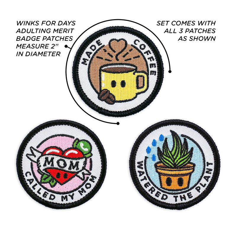 Adulting Merit Badge Embroidered Iron-On Patches (Responsibilities - Set 1)