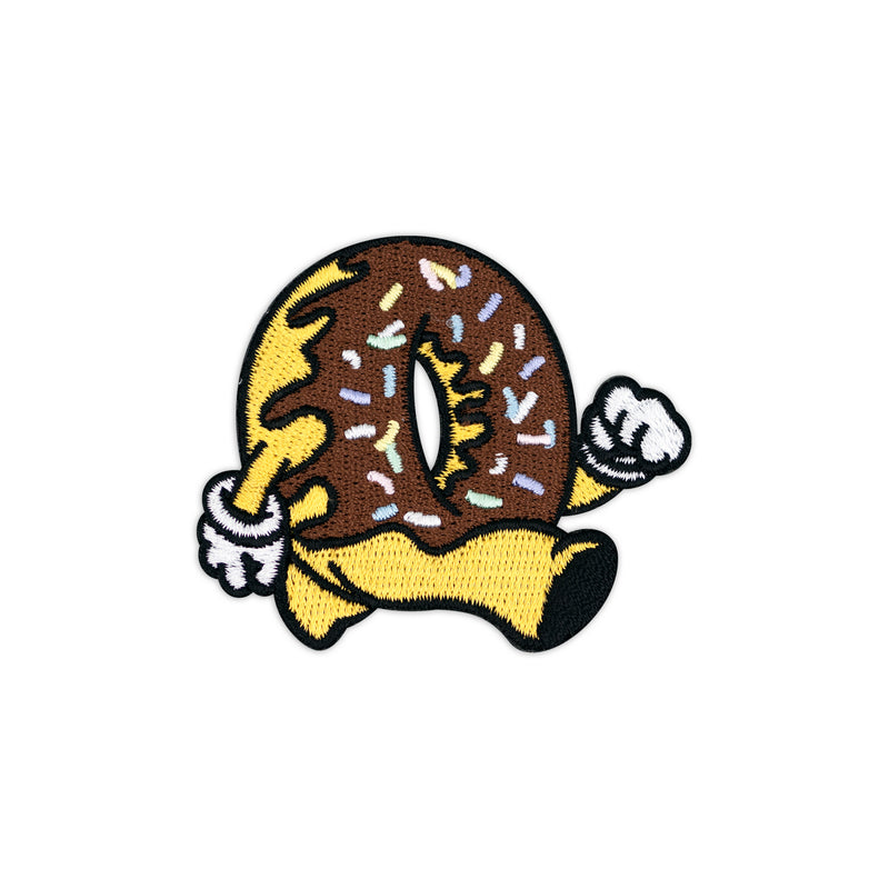 Running Donut Chocolate with Rainbow Sprinkles Embroidered Iron-On Patch