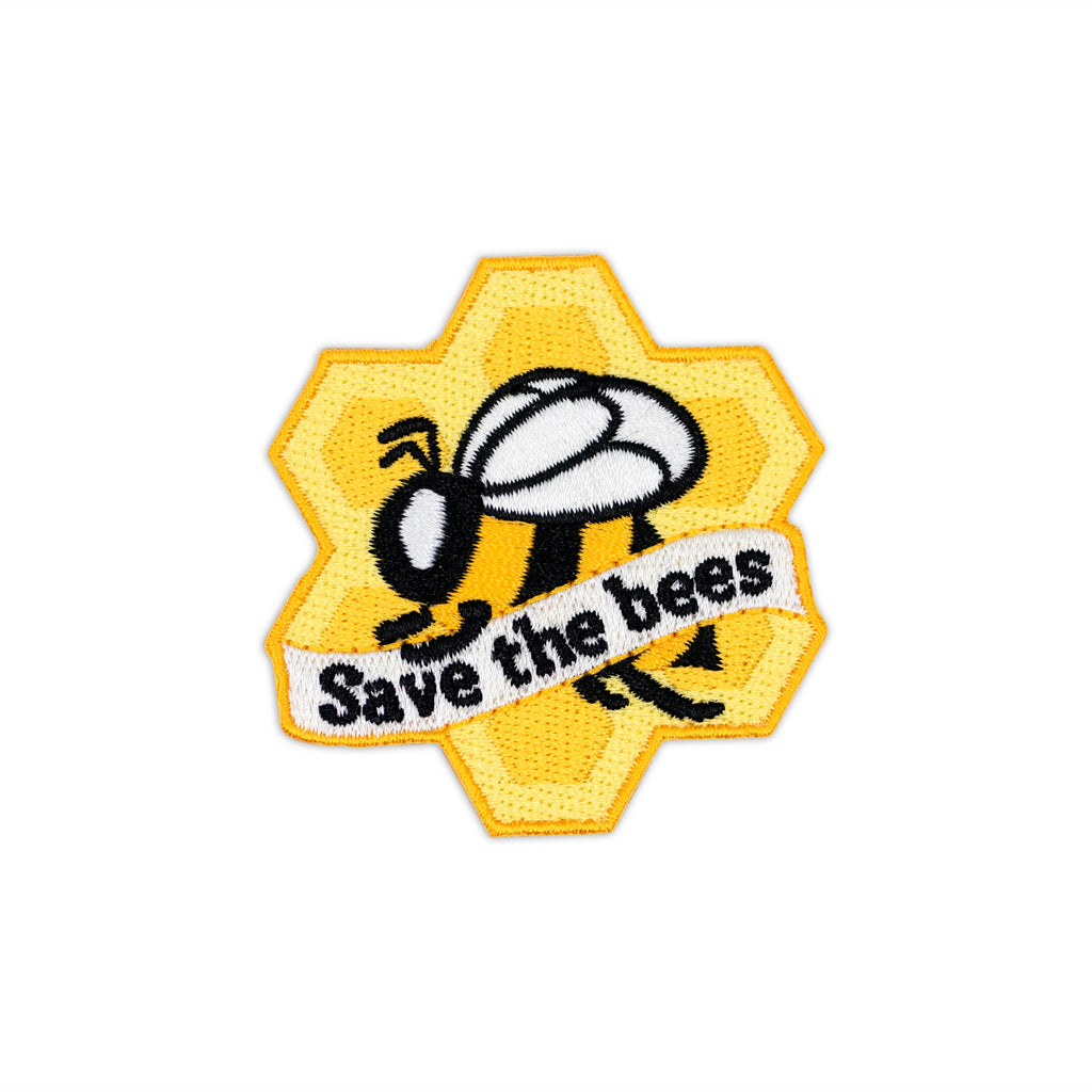 Save The Bees Honeycomb Flying Bee Iron-On Patch