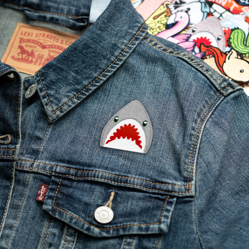 Shark Emoji Embroidered Patch