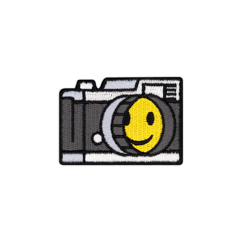 Smiley Face Vintage Camera Embroidered Iron-On Patch
