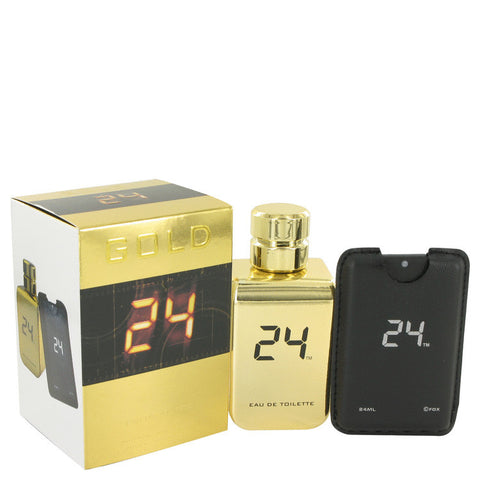 24 Gold The Fragrance by ScentStory Eau De Toilette Spray + 0.8 oz Mini EDT Pocket Spray 3.4 oz Men