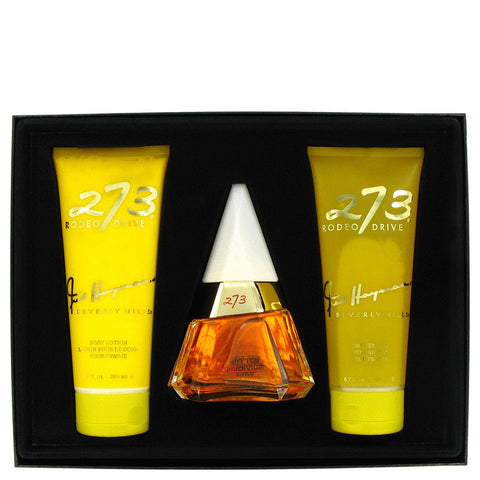 273 by Fred Hayman Gift Set -- 2.5 oz Eau De Purfum Spray + 6.7 oz Body Lotion + 6.7 oz Shower Gel + Mirror Women