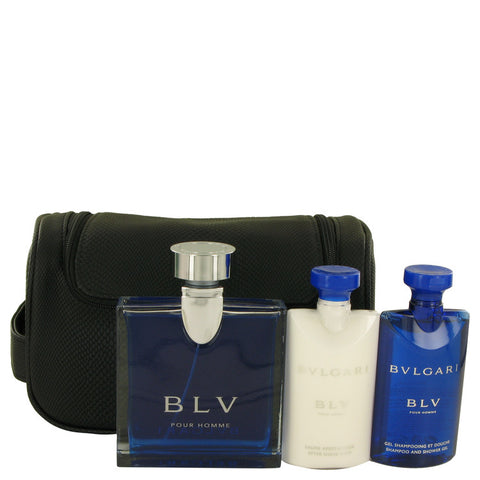 BVLGARI BLV (Bulgari) by Bvlgari Gift Set -- 3.4 oz Eau De Toilette Spray + 2.5 oz After Shave Balm +2.5 oz Shower Gel + Pouch Men