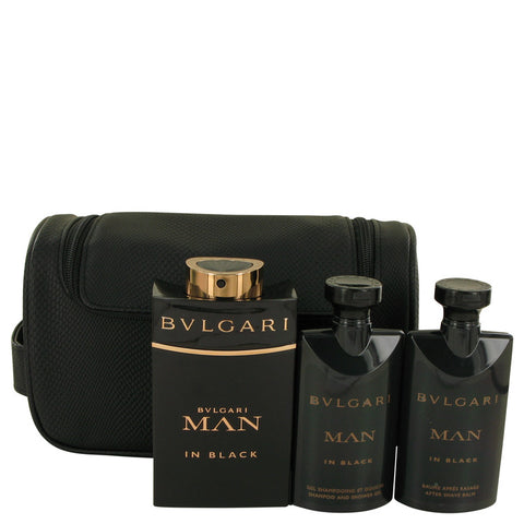 Bvlgari Man In Black by Bvlgari Gift Set -- 3.4 oz Eau De Parfum Spray + 2.5 oz After Shave Balm +2.5 oz Shower Gel + Free Pouch Men