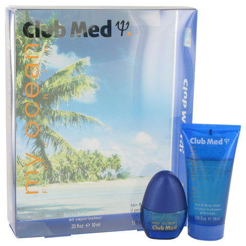 Club Med My Ocean by Coty Gift Set -- .33 oz Mini EDT Spray + 1.85 oz Hair & Body Wash Men