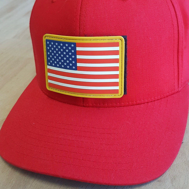 Red Flexfit Tactical Hat with FREE Rubber American Flag Patch