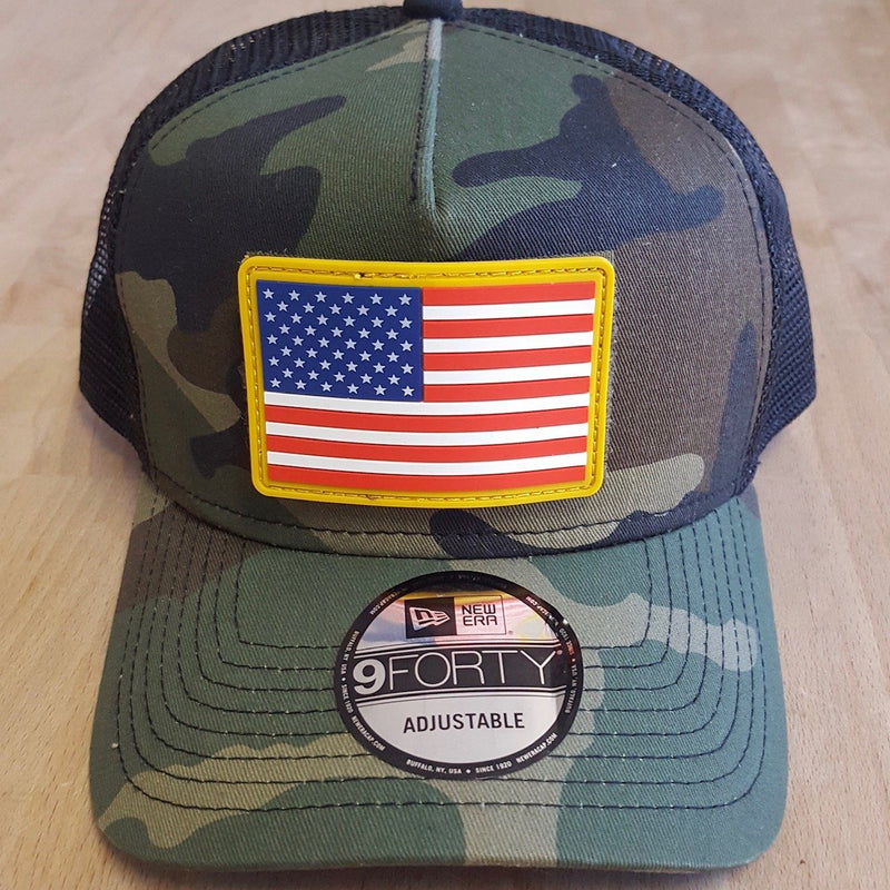 The Tactical Flexfit Camo Trucker with FREE Rubber American Flag Patch