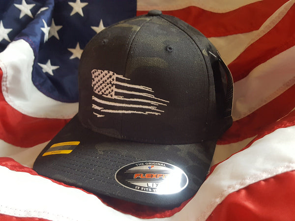 Flexfit Black Multicam Rugged American Flag Hat