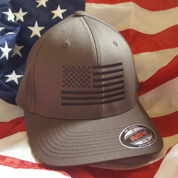 American Flag Dark Gray Flexfit Hat- Limited Stock