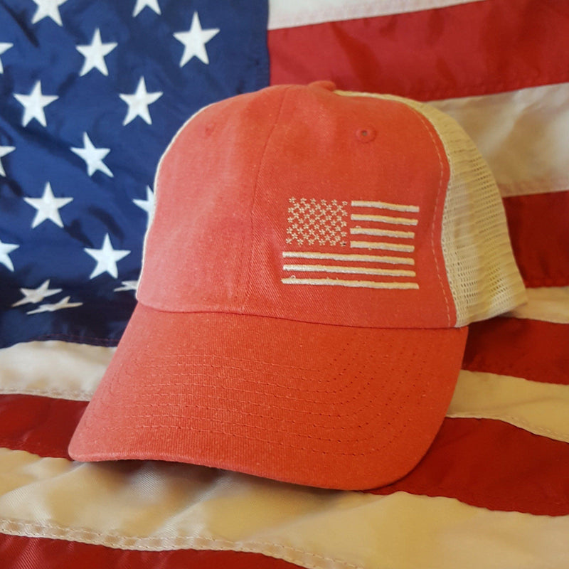 Women's Pigment-Dyed Flag Trucker Cap