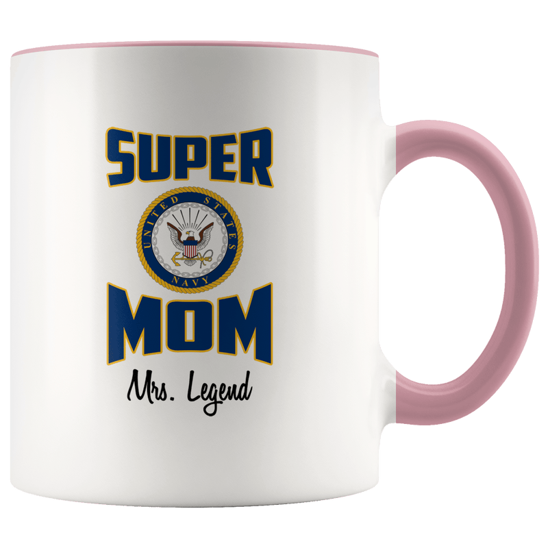 Personalized Super Navy Mom 11oz Mug
