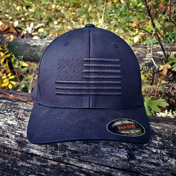 The Ultimate Black American Flag Hat - The Blackout FlexFit