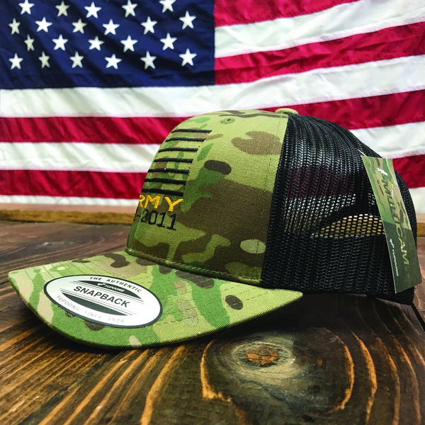 Personalized Army Flag Licensed Multicam Snap Back Hat