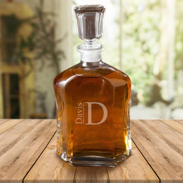 Personalized Chiseled Glass 23 oz Decanter