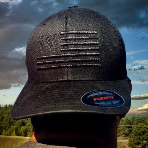 Image of The Ultimate Black American Flag Hat - The Blackout FlexFit