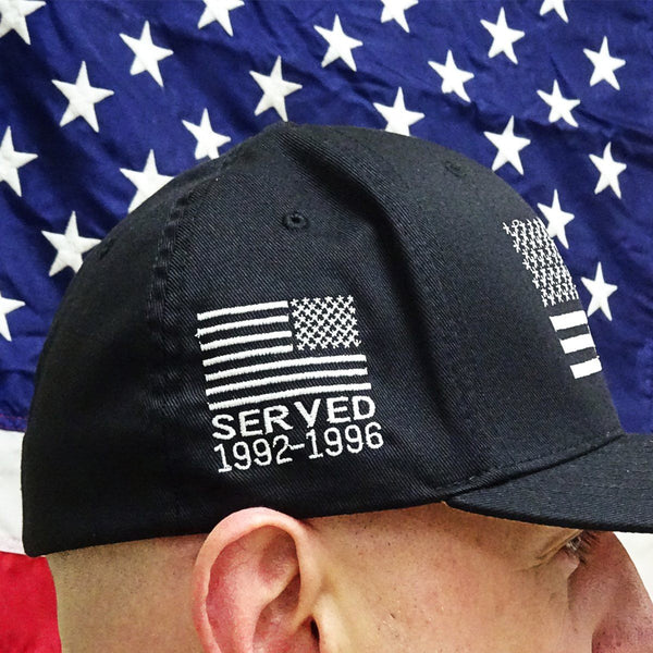 Personalize My Cap with Flag and Service Dates  (cap must be purchased separately).