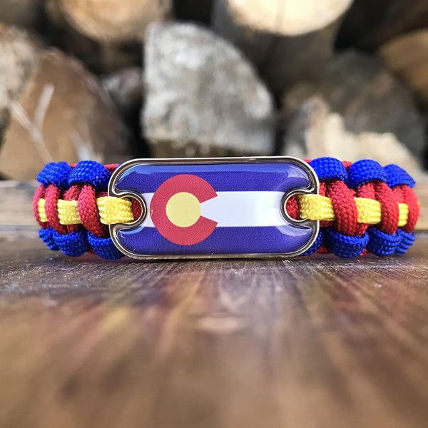 Colorado Flag Dog Tag Paracord Bracelet