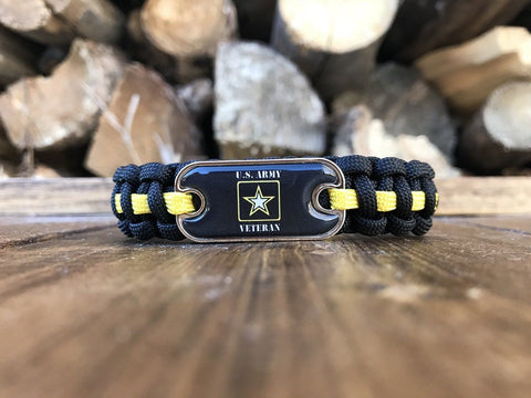 Image of US Army Veteran Dog Tag Paracord Bracelet
