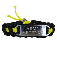 Engraved Stainless Steel Army Veteran Paracord Bracelet