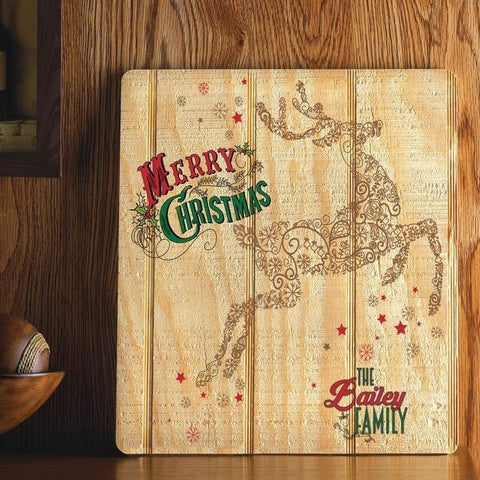 Image of Personalized Christmas Holiday Wood Art Sign