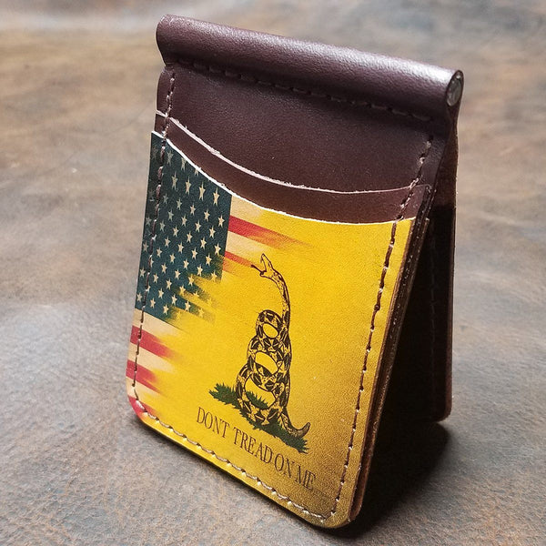 Gadsden Flag Handmade Leather Wallet
