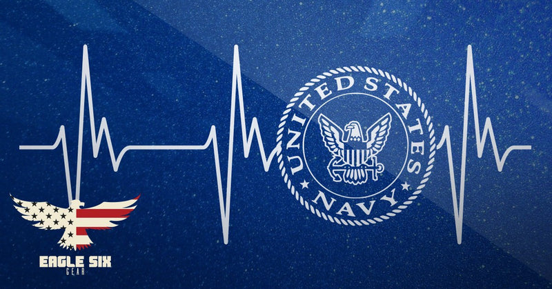 Navy Heartbeat Decal