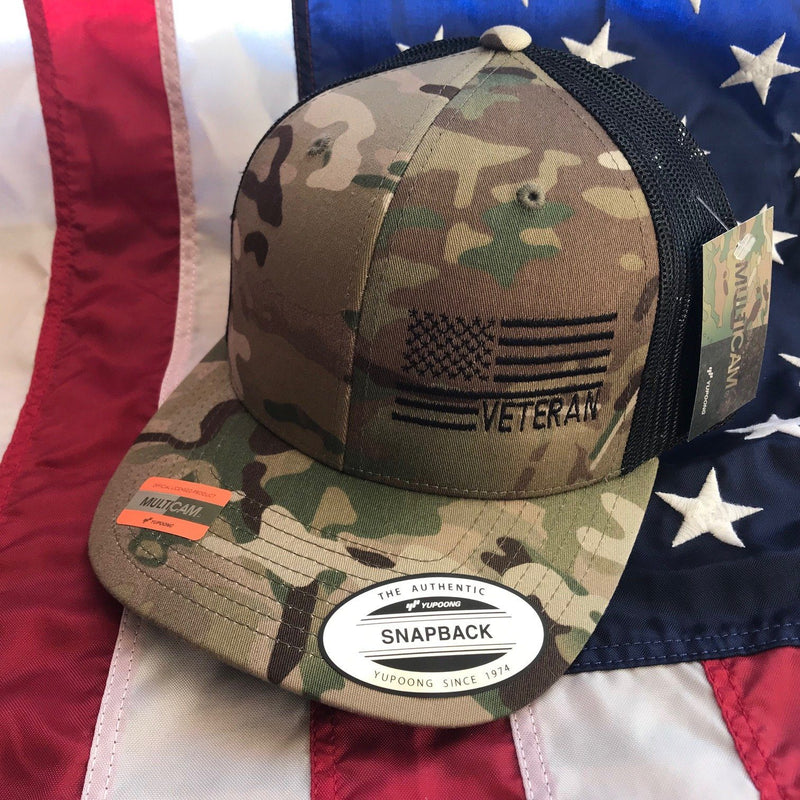 The Veteran Side Flag Multicam Snapback Hat