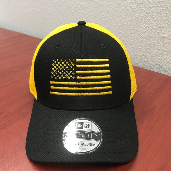 Mesh Yellow/Black New Era Hat American Flag Hat