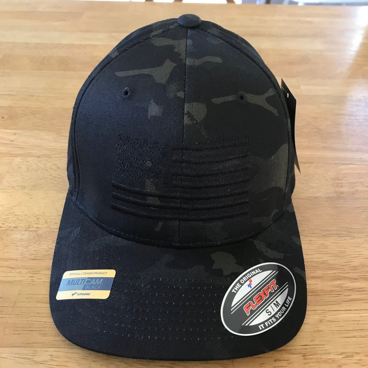American Flag Blackout Flexfit Black Multicam Hat