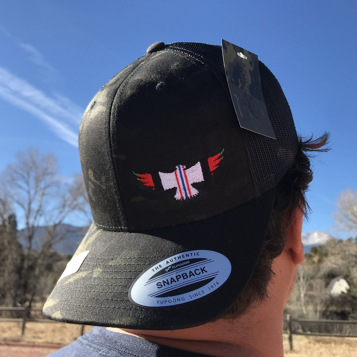 Afghanistan Ribbon Military Eagle Trucker Hat