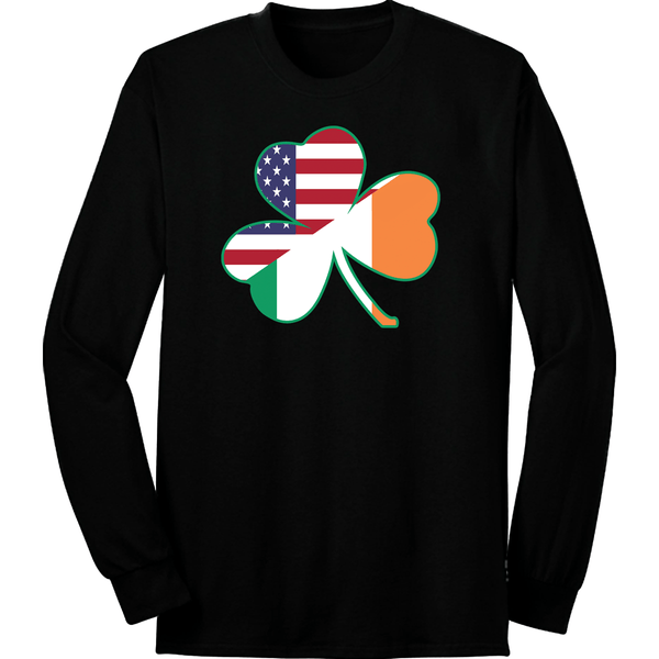 Irish American Flag Shamrock Long Sleeve
