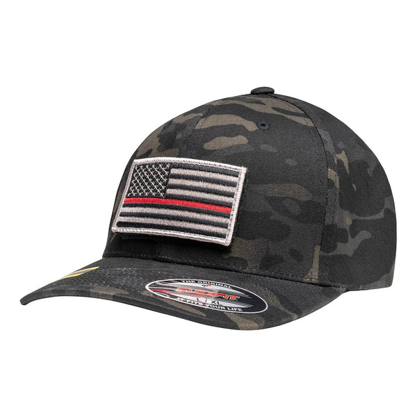 Officially Licensed Black Multicam Hat with Thin Red Line Flag Patch