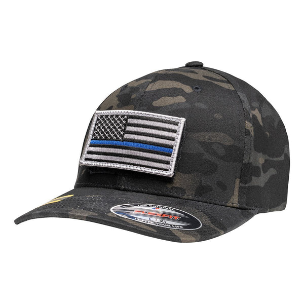 Officially Licensed Black Multicam Hat with Thin Blue Line Flag Patch